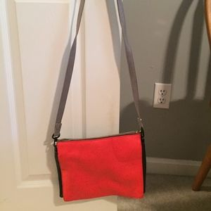 Red and grey leather reversible crossbody bag